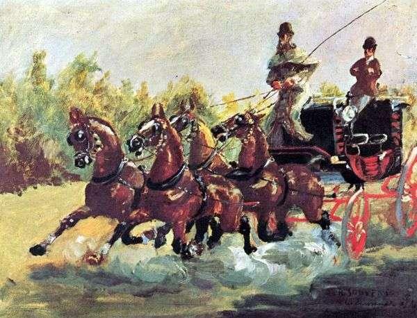 Alphons de Toulouse Lautrec伯爵统治着四匹马的雪橇   Henri de Toulouse Lautrec