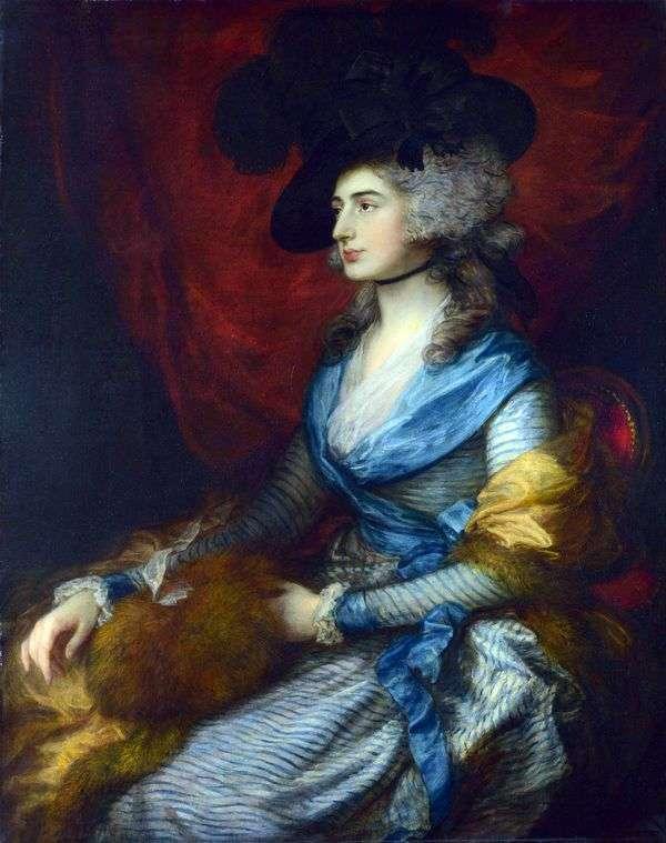 女演员莎拉西登斯   托马斯盖恩斯伯勒的肖像