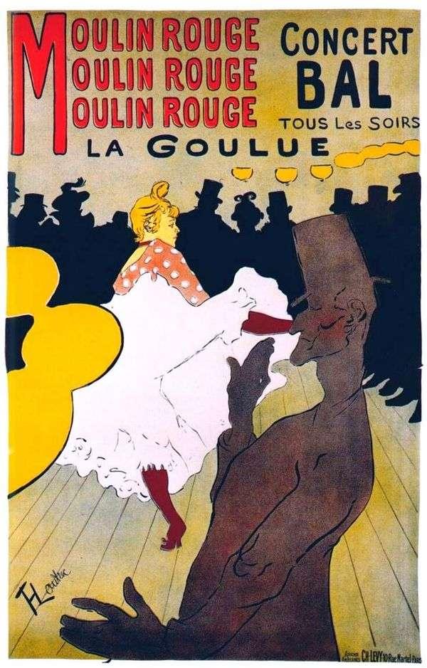 红磨坊的La Gulu   Henri de Toulouse Lautrec