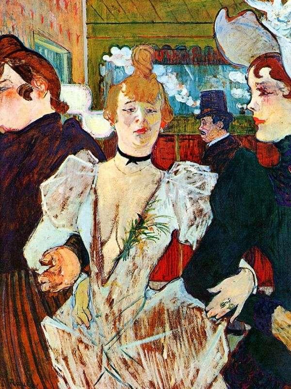 La Gulay带着两个女人进入红磨坊   Henri de Toulouse Lautrec