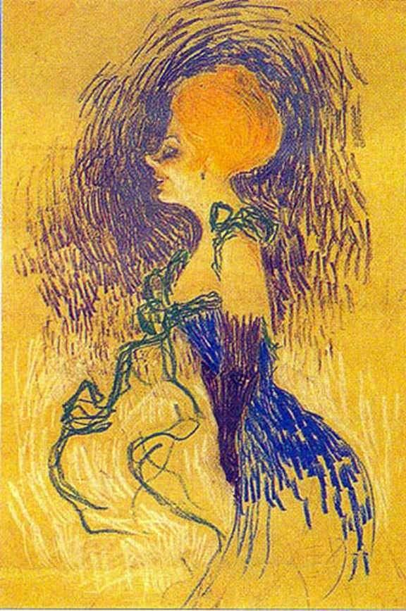 手套的少妇   Henri de图卢兹Lautrec