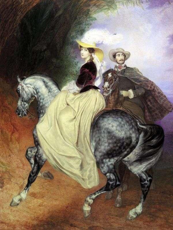 配对E. Mussar和E. Mussar   Karl Bryullov的肖像