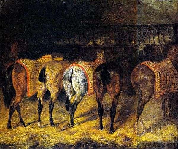 五匹马在马厩里转过来   西奥多Gericault