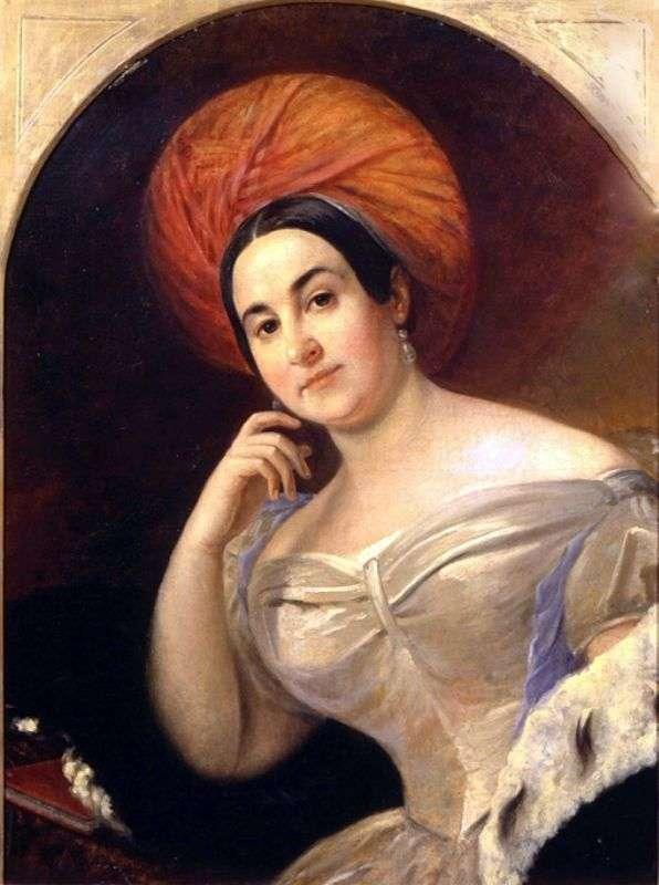 女演员E. S. Semenova的肖像   Karl Bryullov