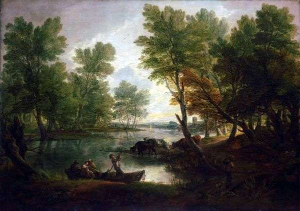 与数字的河风景在小船   托马斯Gainsborough