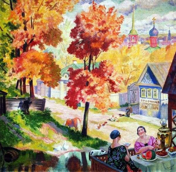秋天在省。喝茶   鲍里斯Kustodiev