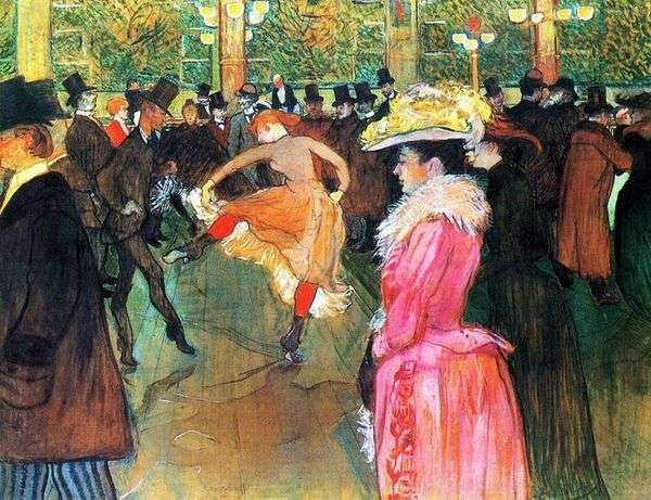 在红磨坊(Moulin Rouge)跳舞   Henri de Toulouse Lautrec