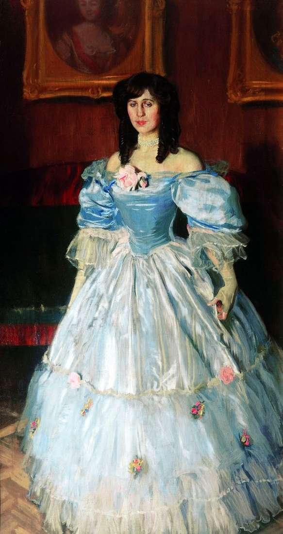 一名妇女的画象蓝色的   鲍里斯Kustodiev