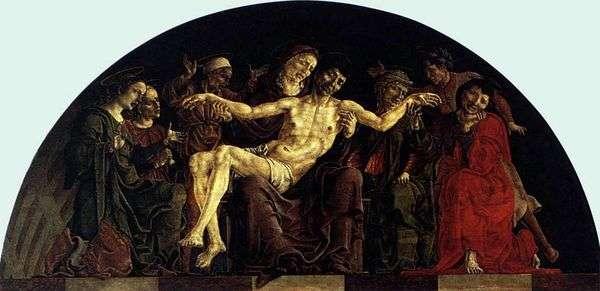 与圣徒的圣母怜子图。费拉拉圣乔治祭坛   科西莫图拉