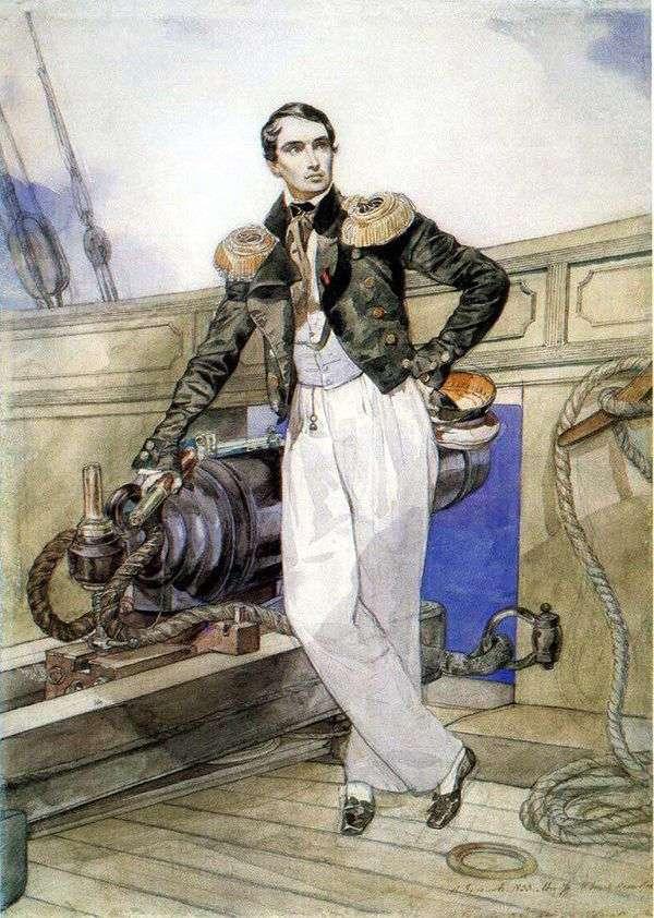 弗拉基米尔Kornilov画象在Themistokl双桅船   卡尔Bryullov委员会的