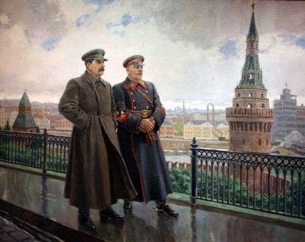 JV Stalin和K. Ye. Voroshilov在克里姆林宫   亚历山大 格拉西莫夫