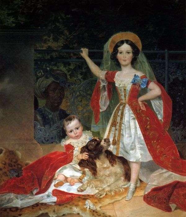Volkonsky王子的孩子画象与arap的   卡尔Bryullov