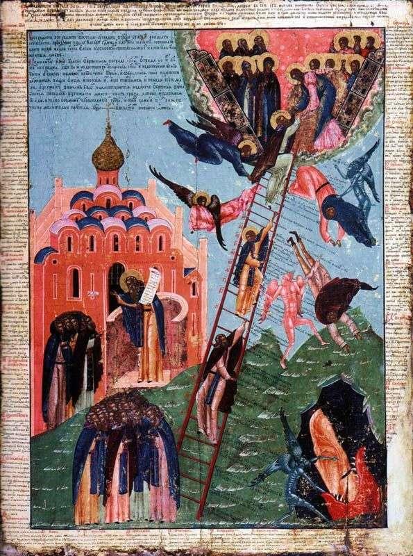 梯子的圣约翰和修道院上升的图象