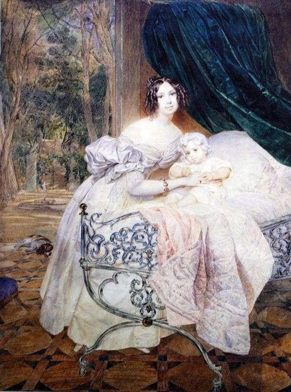 Mikhail I. Buteneva与他的女儿   Karl Bryullov的肖像