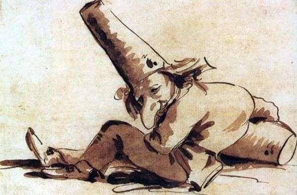 Pulcinelli,坐在地上   Giovanni Battista Tiepolo