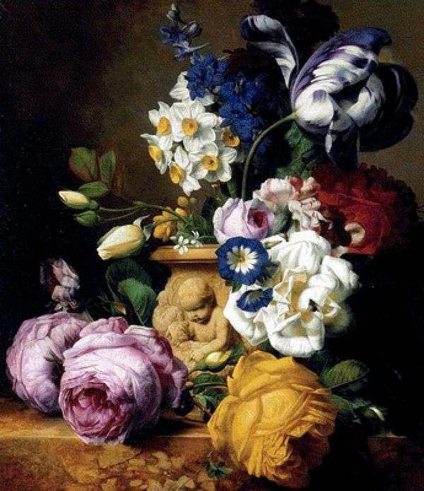插在花瓶里的玫瑰,郁金香,海豚,牡丹和水仙花   Charles Joseph Nowd