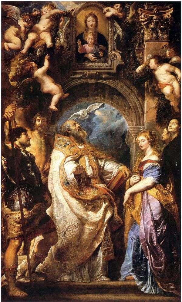 麦当娜和儿童,圣格雷戈里大帝和圣徒   彼得鲁本斯