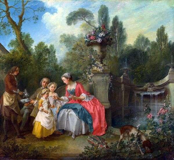夫人和绅士与两个女孩在花园里   尼古拉兰克雷