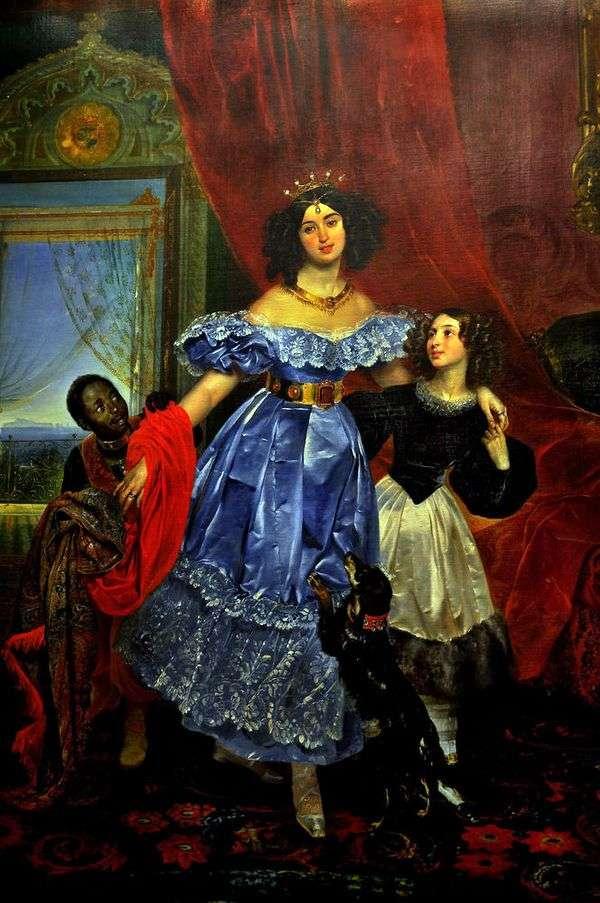 Yu. P Samoilova与Dzhovanina Pacini和arapchonk   Karl Bryullov的画像