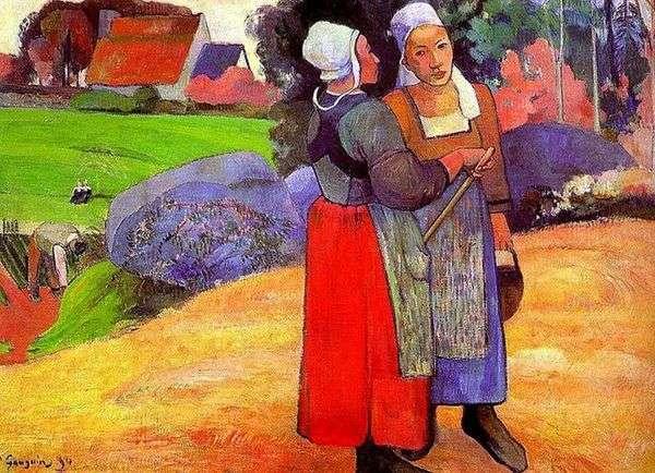 布列塔尼农民妇女   保罗高更