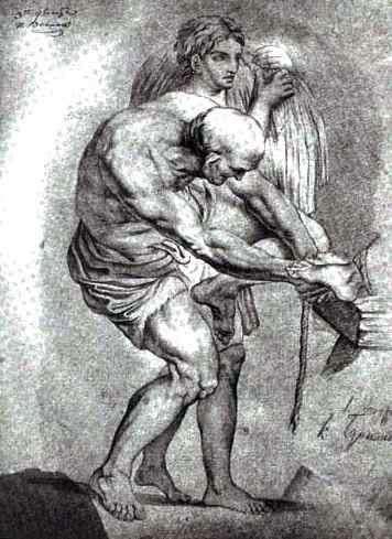 这位老人和一个捆着的年轻人   卡尔 布鲁洛夫