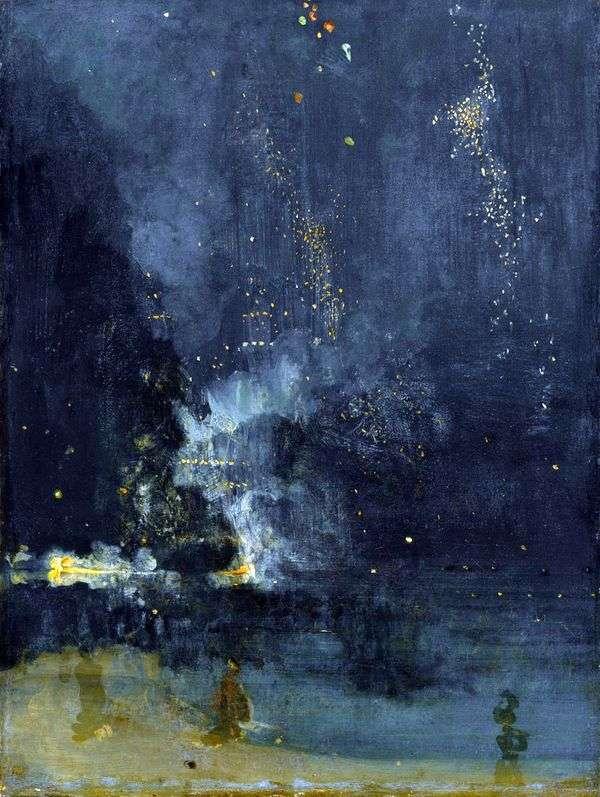 黑色和金色的夜曲。导弹坠落   詹姆斯惠斯勒