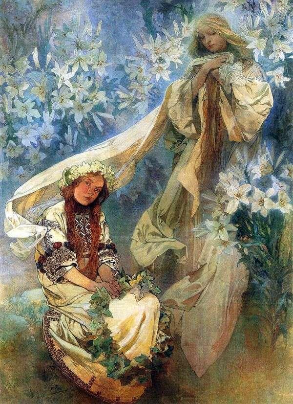 百合的玛丽亚麦当娜   Alphonse Mucha
