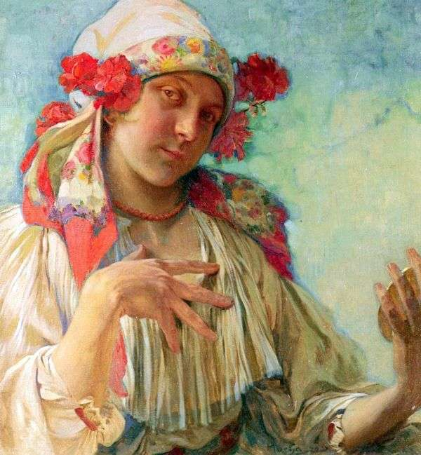 Moravian服装的女孩   Alphonse Mucha