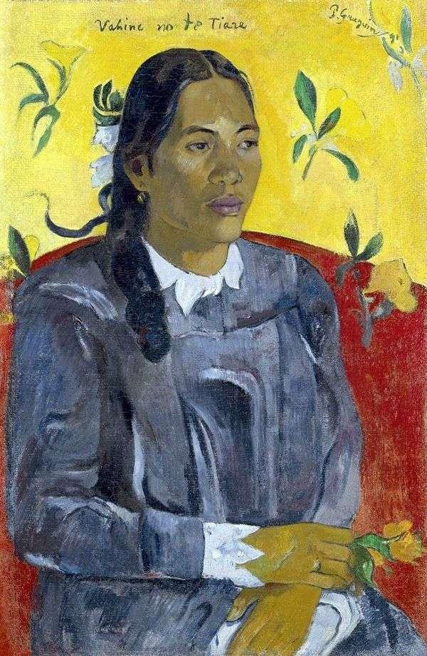 有花的妇女   保罗Gauguin