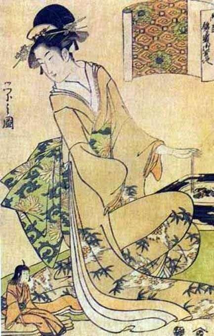 Geisha Stirring Coals in a Roaster   Hosoda Esey