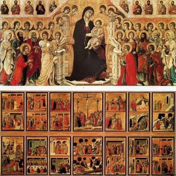 麦当娜与天使和圣徒(Maestas)   Duccio di Buoninsegna