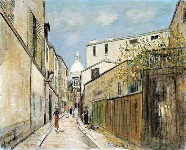 Sacré CœurBasilica大教堂和Rue Saint Rustic街   Maurice Utrillo