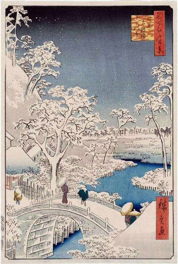 在Meguro的Taykobashi Bridge和Yukhinok Hill   Ando Hiroshige