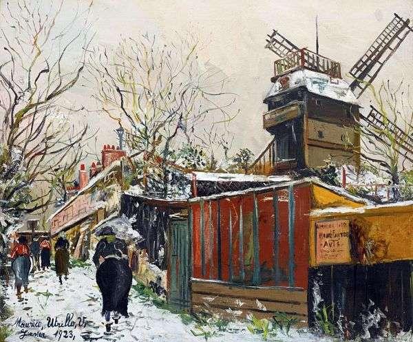 Moulin de la Galette在雪下   Maurice Utrillo