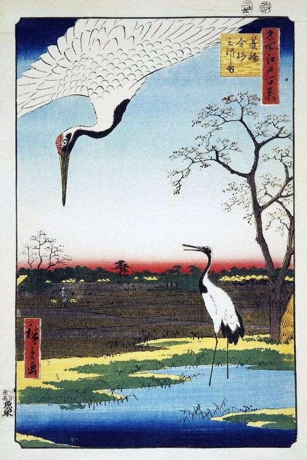 Minova,Kanasugi和Mikavashima的村庄   Hiroshige Ando