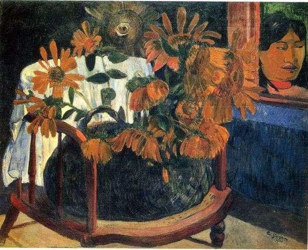静物与向日葵在椅子上   保罗高更