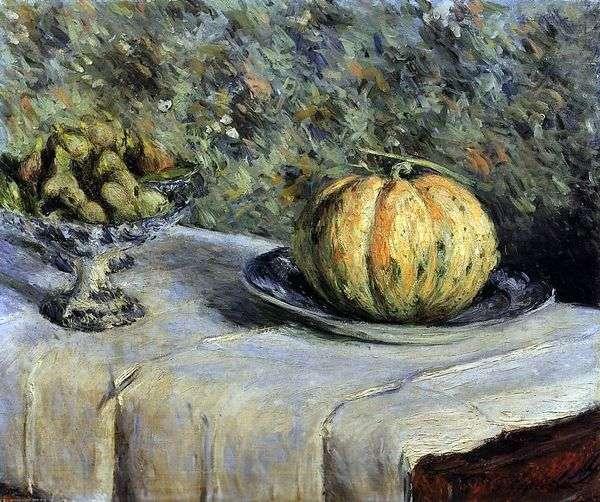 甜瓜和花瓶与日期   古斯塔夫Caibotte