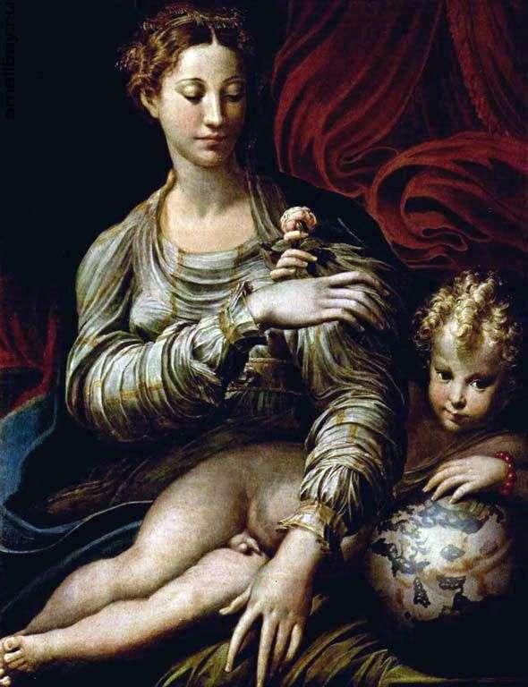 麦当娜与玫瑰   弗朗切斯科Parmigianino