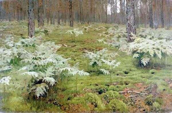 蕨类植物在森林里   艾萨克列维坦