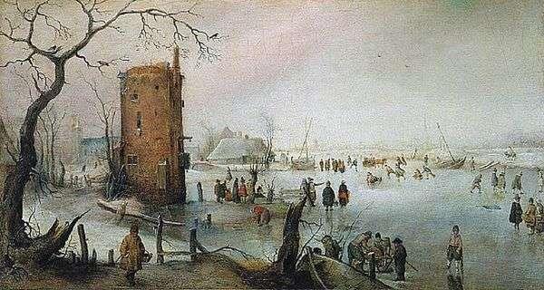 与塔的冬天风景   亨德里克Averkamp