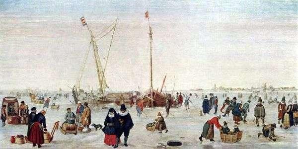 与溜冰者的冬天风景   亨德里克Averkamp