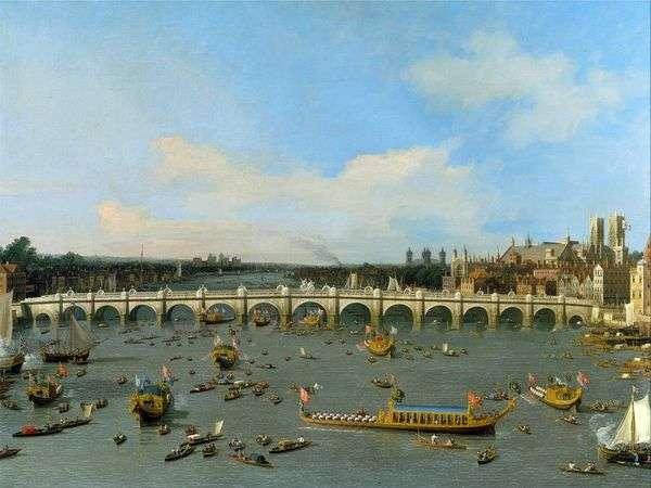 威斯敏斯特桥在伦敦与泰晤士河上的市长火车   安东尼奥卡纳莱托