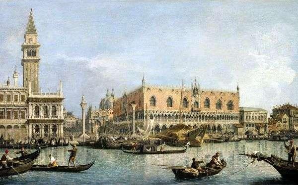 共和国总督的宫殿的看法在威尼斯   安东尼奥Canaletto