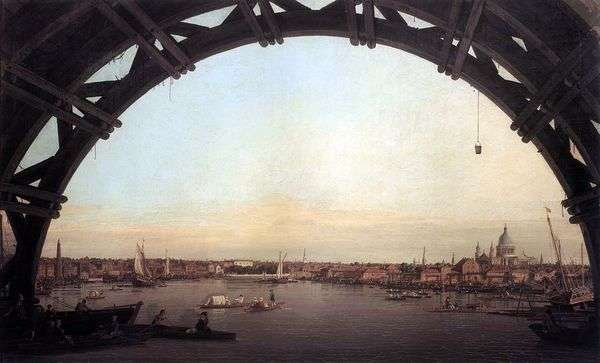 伦敦看法通过威斯敏斯特桥梁的曲拱   安东尼奥Canaletto