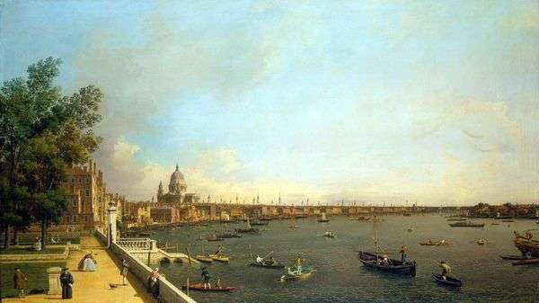 从Somersethaus   安东尼奥卡纳莱托的泰晤士河和伦敦的看法