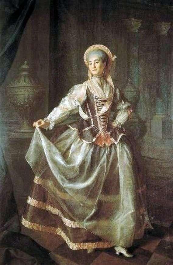 亚历山德拉Levshina贵族少女皇家教育学会学生的肖像   德米特里 列维茨基