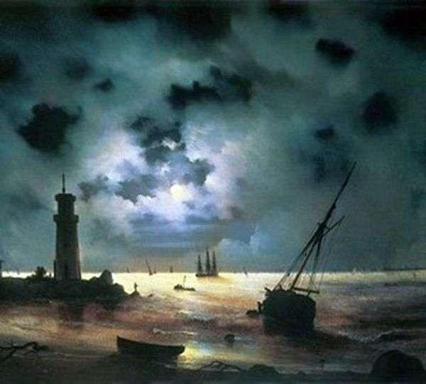 海边在晚上。在灯塔   伊万艾瓦佐夫斯基