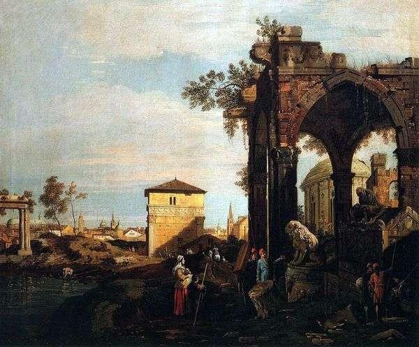 与Portello废墟和门的Capriccio在帕多瓦   安东尼奥Canaletto