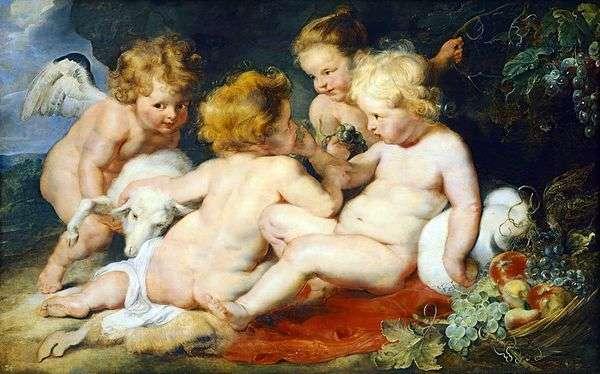 基督和圣约翰与天使和女孩   彼得鲁本斯