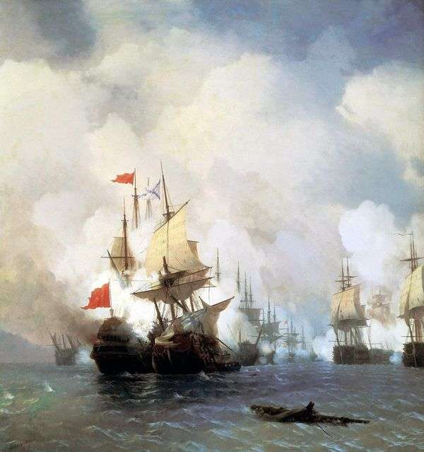 1770年6月24日在希俄斯海峡战斗   伊万艾瓦佐夫斯基